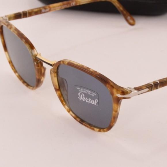 1da5ba1a6079f Persol PO3186S Spotted Brown Blue Lens Sunglasses